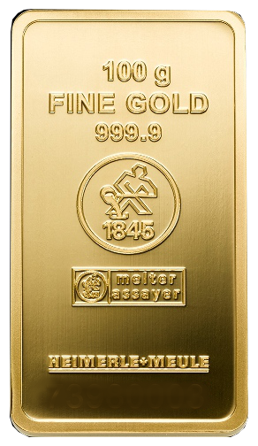 100 Gramm Goldbarren (Heimerle + Meule, Pforzheim)