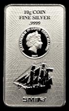 10 Gramm  Cook Islands 2017 - Münzbarren  (Silber  999.9) - Neues Design