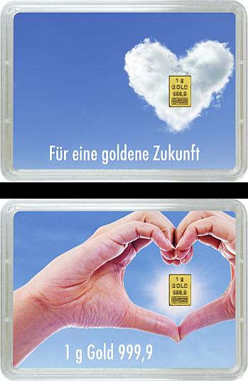 1 Gramm Goldbarren - Goldene Zukunft - (Flip)