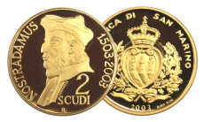 San Marino - 2 Scudi 2003 - 100° Anniversario NOSTRADAMUS