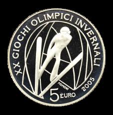 5 Euro Italien 2005 - Winterolymp. Turin 2006 - Skispringen (Proof)