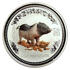 1 Oz. Australien - Schwein 2007 (Lunar I - coloriert)