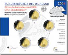 2 Euro Münzenset 2008 - Freie u. Hansestadt Hamburg