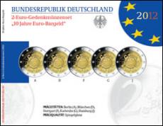 2 Euro Gedenkmünzenset 2012 - 10 Jahre Euro-Bargeld
