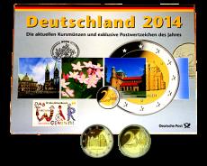 KMS 2014 A,D,F,G,J - komplett (incl. 2 Euro Sondermünze +  Briefmarken)