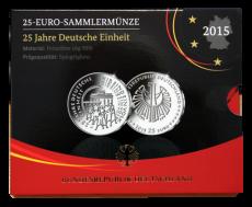 25 Euro BRD - 25 J. Dt. Einheit - 2015  -  G (PP)