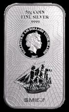 50 Gramm  Cook Islands 2017 - Münzbarren  (Silber  999.9) - Neues Design