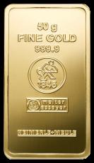 50 Gramm Goldbarren (Heimerle + Meule, Pforzheim)