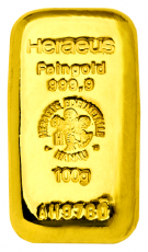 100 Gramm Goldbarren (Heraeus) - gegossen