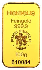 100 Gramm Goldbarren (Heraeus) - geprägt