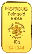 10 Gramm Goldbarren (Heraeus, Degussa, Umicore)