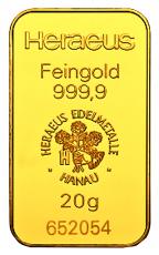 20 Gramm Goldbarren (Heraeus)