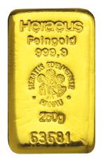 250 Gramm Goldbarren (Heraeus, Degussa, Umicore)