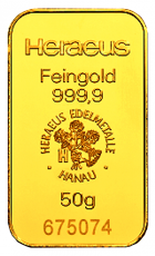 50 Gramm Goldbarren (Heraeus, Degussa, Umicore)