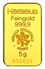 5 Gramm Goldbarren (Heraeus)