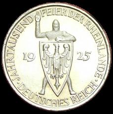 J 322 - 5 RM - Jahrtausendfeier der Rheinlande 1925 - D (vz)