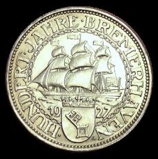 J 326 - 5 RM - 100 Jahre Bremerhaven 1927 - A (vz)
