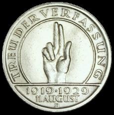 J 341 - 5 RM - Treu der Verfassung 1929 - D (vz)