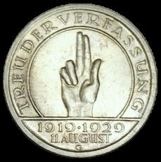 J 341 - 5 RM - Treu der Verfassung 1929 - G (ss-vz)