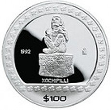 "1 Oz. Mexiko - ""Xochipilli"" 1992 (Proof) - Originalbox + COA"