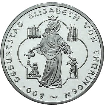 Brd Gedenkmünze 10 Euro 800 Geburtstag Elisabeth V Thüringen