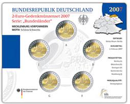 2 Euro Münzenset 2007 Mecklenburg Vorpommern Münzhandel Thomas