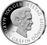 10 Euro - 100 Geburtstag Marion Gräfin-Dönhoff (2009 - Spgl.)