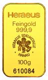 100 Gramm Goldbarren (Heraeus, Degussa, Umicore) - geprägt