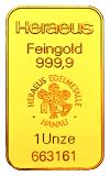 1 Unze Goldbarren   (Heraeus, Degussa, Umicore)