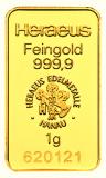 1 Gramm Goldbarren (Heraeus)