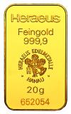 20 Gramm Goldbarren (Heraeus, Degussa, Umicore)