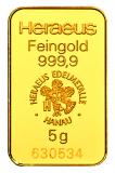 5 Gramm Goldbarren (Heraeus, Degussa, Umicore)