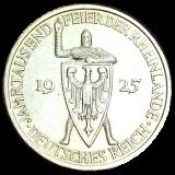 J 322 - 5 RM - Jahrtausendfeier der Rheinlande 1925 - F (ss-vz)