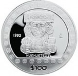 "1 Oz. Mexiko - ""Huehueteotl"" 1992 (Proof) - Originalbox + COA"